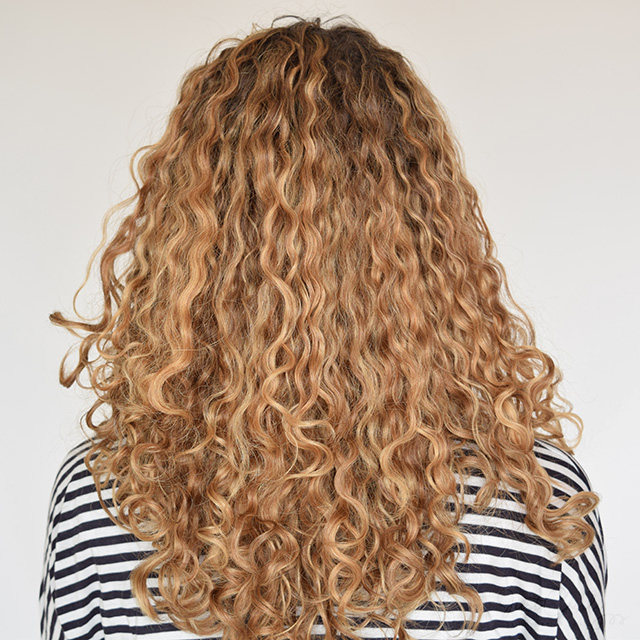 The back of my curls after blow-drying them