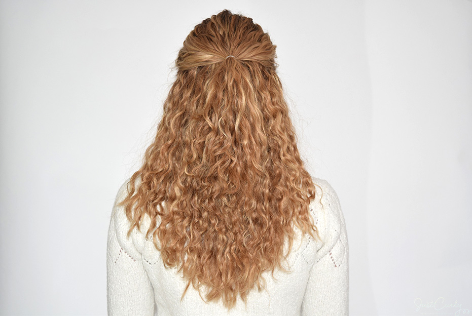 1. Bring back the top part of your hair and fix it with a small hair tie. This should be about 1/4 of your hair.