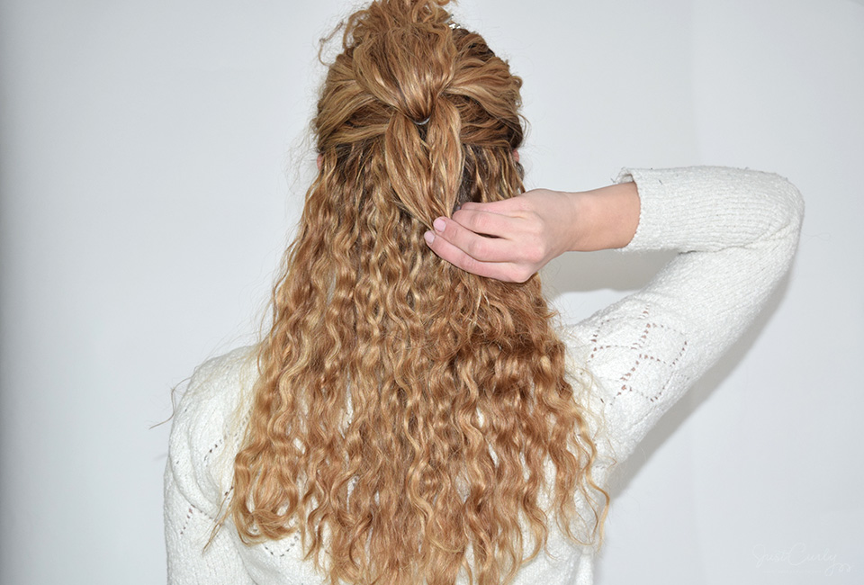 6. Before you tie these two sections together, you need to add some curls to the braid.